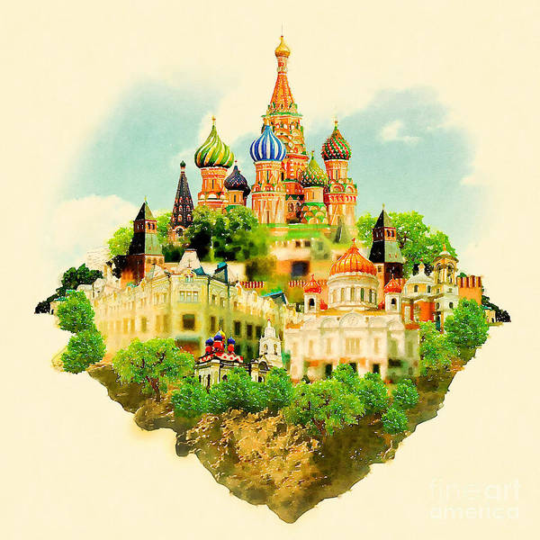 Wall Art - Digital Art - Watercolor Illustration Moscow Scene by Trentemoller