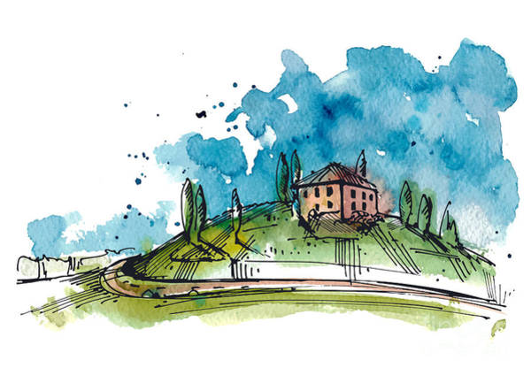 Engraved Digital Art - Watercolor Illustration Of A Tuscany by Julia Henze