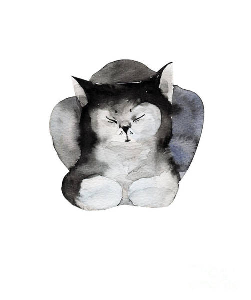 Wall Art - Digital Art - Watercolor Illustration Of Cat For by Kat branches