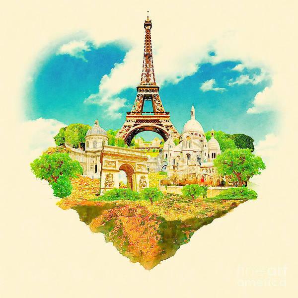 Panoramic Digital Art - Watercolor Illustration Paris View by Trentemoller