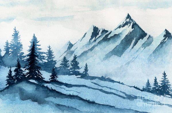 Wall Art - Digital Art - Watercolor Illustration. Winter by Alexgreenart