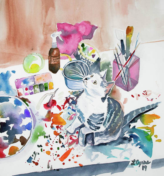 Painting - Watercolor - Kitten On My Painting Table by Cascade Colors