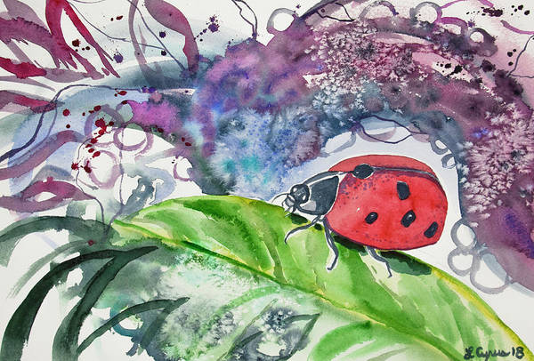 Painting - Watercolor - Lady Bug On Leaf by Cascade Colors