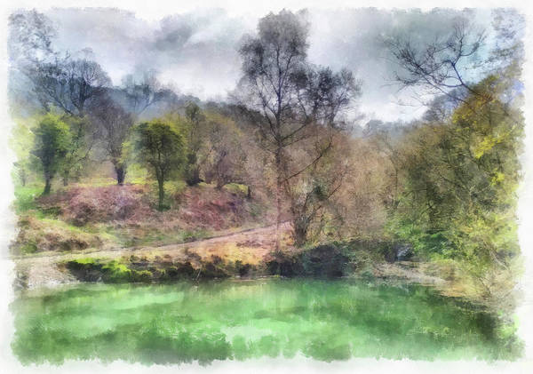 Painting - Watercolor Landscape Builth Wells Wales Photo Painting by Matthias Hauser