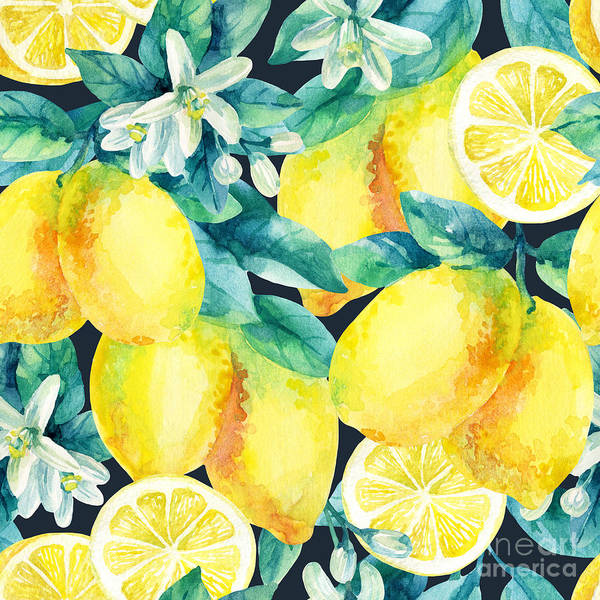 Wall Art - Digital Art - Watercolor Lemon Fruit Branch With by Tanya Syrytsyna