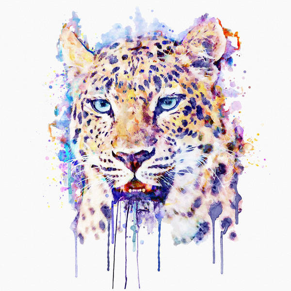 Wall Art - Painting - Watercolor Leopard Head by Marian Voicu