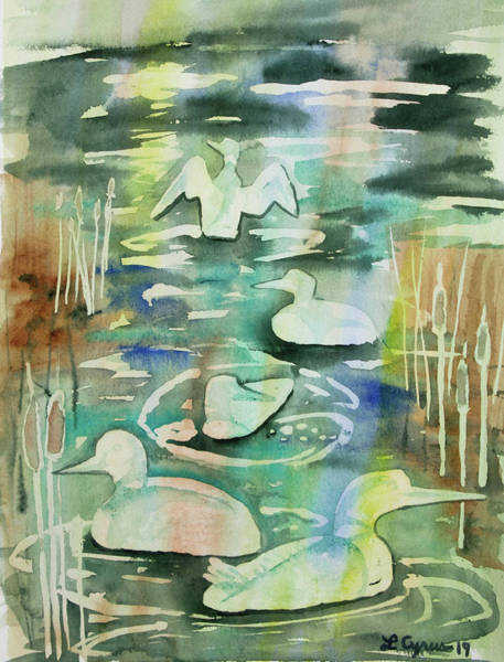 Painting - Watercolor - Loon Design by Cascade Colors