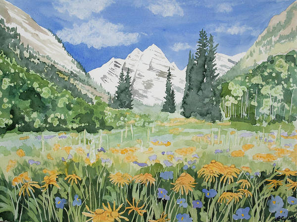 Painting - Watercolor- Maroon Bells Summer Landscape by Cascade Colors