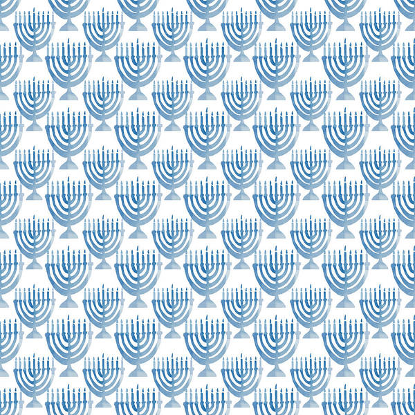 Holiday Wall Art - Digital Art - Watercolor Menorahs- Art By Linda Woods by Linda Woods