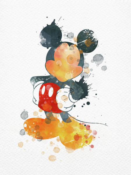Wall Art - Digital Art - Watercolor Mickey Mouse  by Mihaela Pater