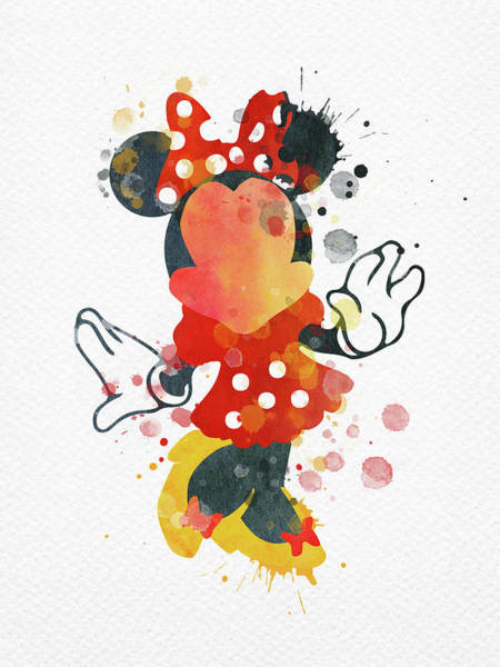 Wall Art - Digital Art - Watercolor Minnie Mouse  by Mihaela Pater