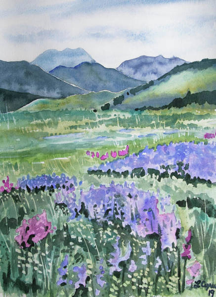 Painting - Watercolor - North Table Mountain Spring Landscape by Cascade Colors