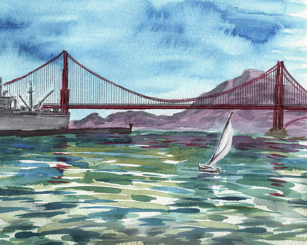 Painting - Watercolor Of San Francisco Bay And Golden Gate Bridge by Irina Sztukowski