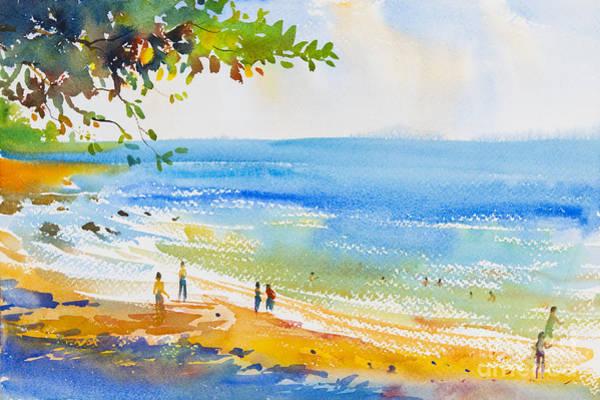 Wall Art - Digital Art - Watercolor Original  Seascape Painting by Painterstock