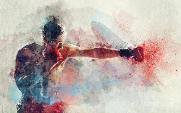 Kickboxing Photograph - Watercolor Painting Of Boxer Striking A Blow by Michal Bednarek