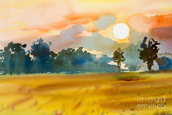 Wall Art - Digital Art - Watercolor  Painting Original Landscape by Painterstock