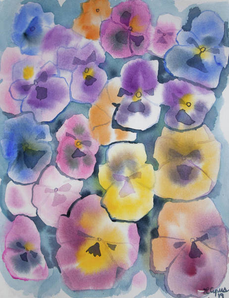 Painting - Watercolor - Pansy Design by Cascade Colors