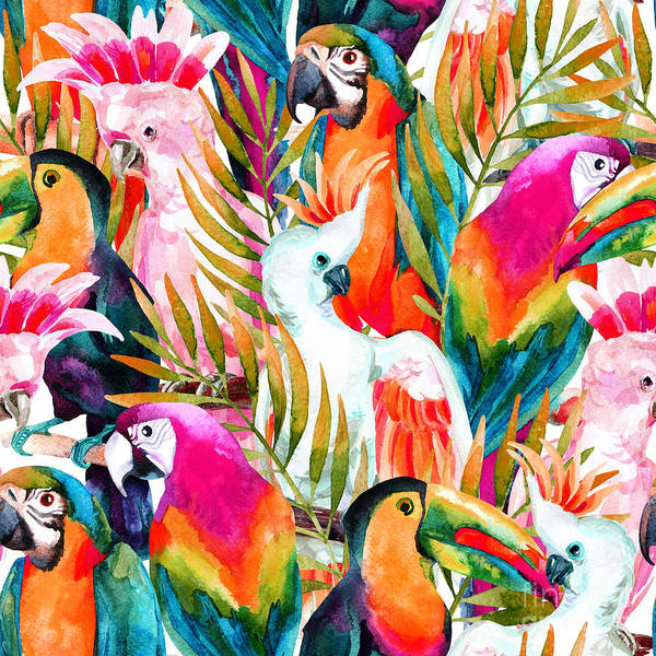Wall Art - Digital Art - Watercolor Parrots Seamless Pattern On by Tanya Syrytsyna