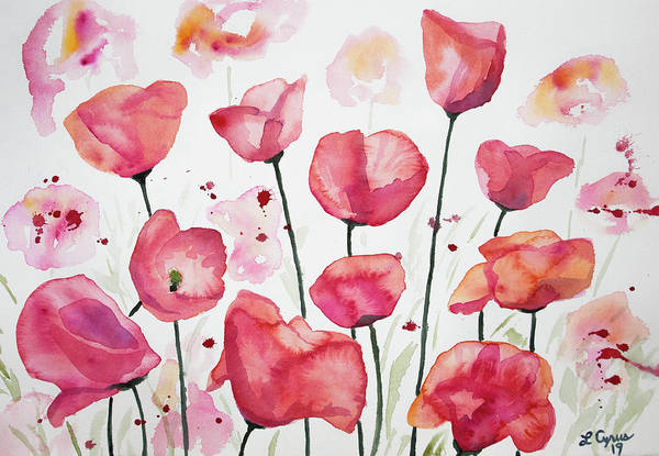 Painting - Watercolor - Poppy Field by Cascade Colors