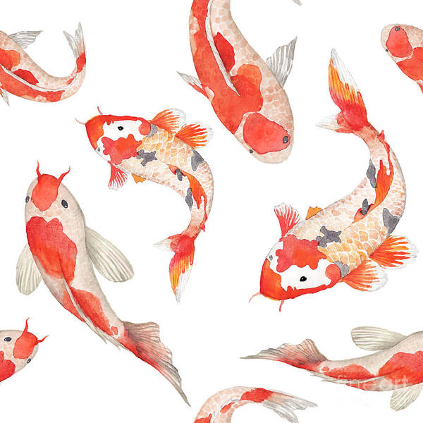Wall Art - Digital Art - Watercolor Rainbow Carp Pattern by Eisfrei