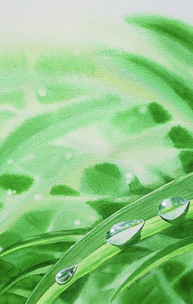 Painting - Watercolor Realism Morning Dew Drops by Irina Sztukowski
