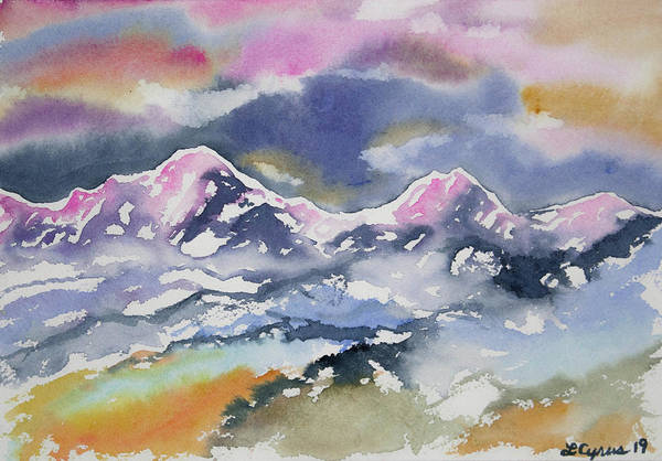 Painting - Watercolor - Rocky Mountain Sunset Impression by Cascade Colors