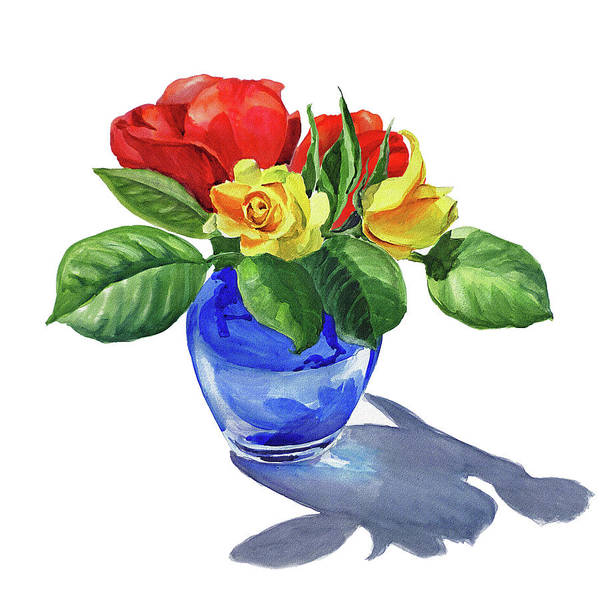 Wall Art - Painting - Watercolor Roses In The Blue Vase by Irina Sztukowski