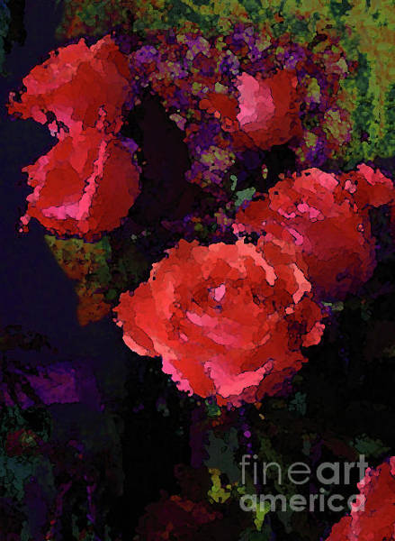 Photograph - Watercolor Roses Orange With Purple by Corinne Carroll