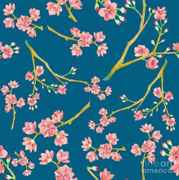 Wall Art - Digital Art - Watercolor Sakura Pattern. Seamless by Eisfrei