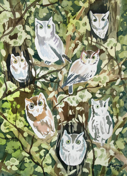Painting - Watercolor - Screech Owl And Forest Design by Cascade Colors