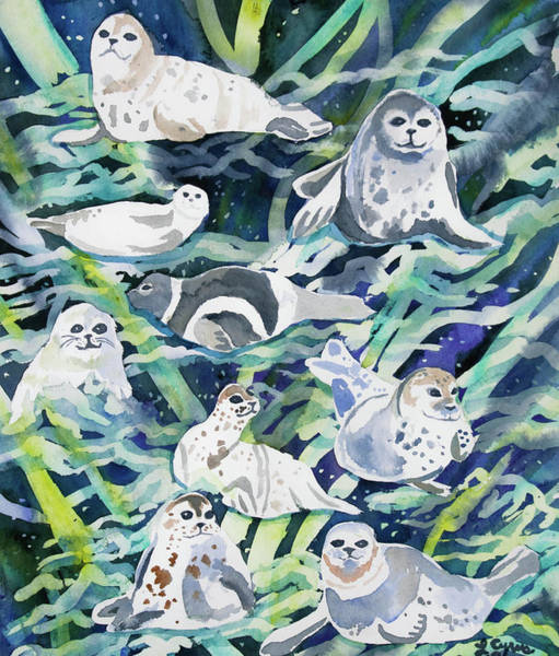 Painting - Watercolor - Seal Design by Cascade Colors
