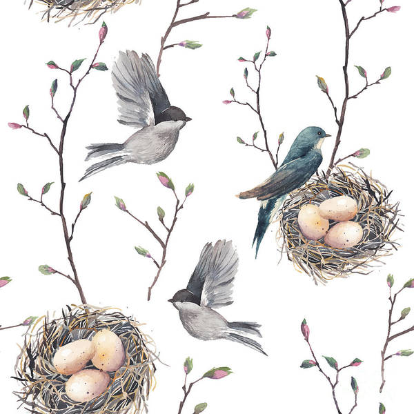 Wall Art - Digital Art - Watercolor Seamless Pattern With Nest by Eisfrei