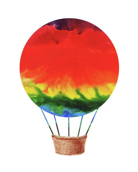 Painting - Watercolor Silhouette Hot Air Balloon 1  by Irina Sztukowski