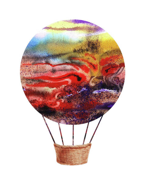 Painting - Watercolor Silhouette Hot Air Balloon Iv by Irina Sztukowski