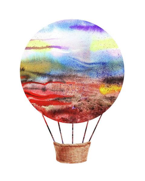 Painting - Watercolor Silhouette Hot Air Balloon Vi by Irina Sztukowski