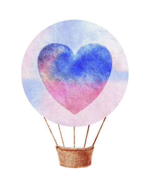 Wall Art - Painting - Watercolor Silhouette Hot Air Balloon With Heart I by Irina Sztukowski