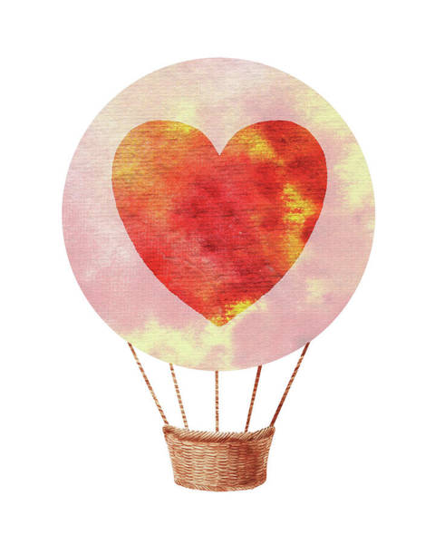 Wall Art - Painting - Watercolor Silhouette Hot Air Balloon With Heart II by Irina Sztukowski