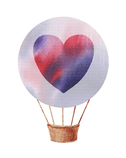 Wall Art - Painting - Watercolor Silhouette Hot Air Balloon With Heart Iv by Irina Sztukowski