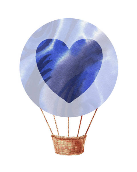 Wall Art - Painting - Watercolor Silhouette Hot Air Balloon With Heart V by Irina Sztukowski