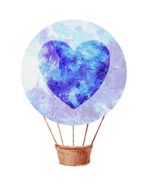 Wall Art - Painting - Watercolor Silhouette Hot Air Balloon With Heart Vii by Irina Sztukowski