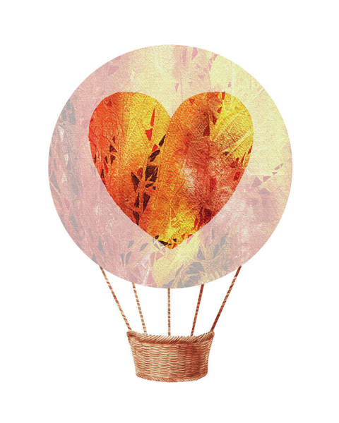 Wall Art - Painting - Watercolor Silhouette Hot Air Balloon With Heart Viii by Irina Sztukowski