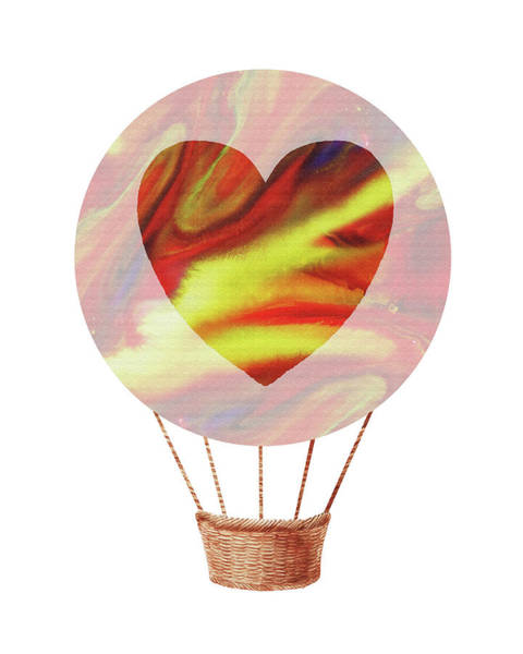 Wall Art - Painting - Watercolor Silhouette Hot Air Balloon With Heart X by Irina Sztukowski