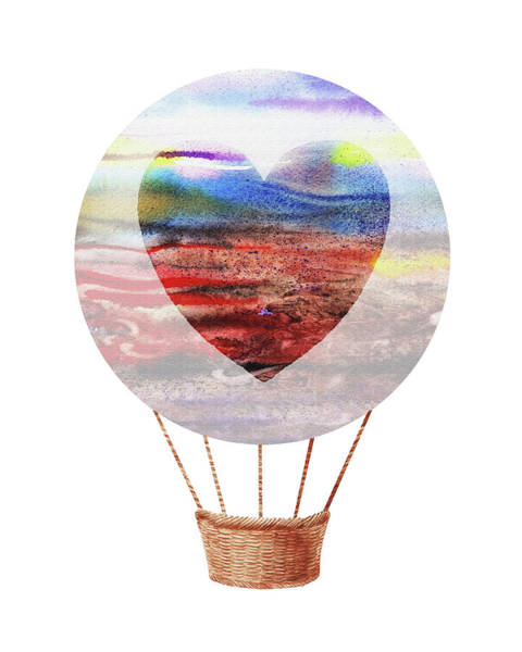 Wall Art - Painting - Watercolor Silhouette Hot Air Balloon With Heart Xi by Irina Sztukowski