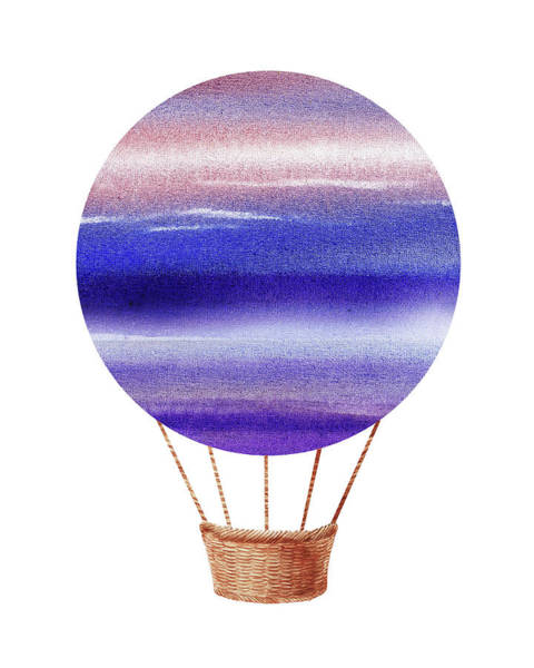 Wall Art - Painting - Watercolor Silhouette Hot Air Balloon Xxiv by Irina Sztukowski