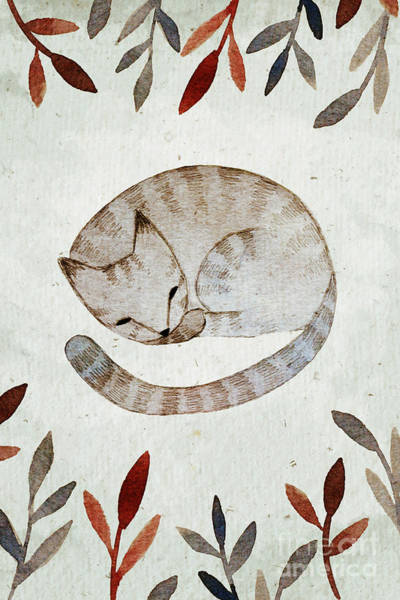 Wall Art - Digital Art - Watercolor Sleeping Cat Illustration by Maria Sem