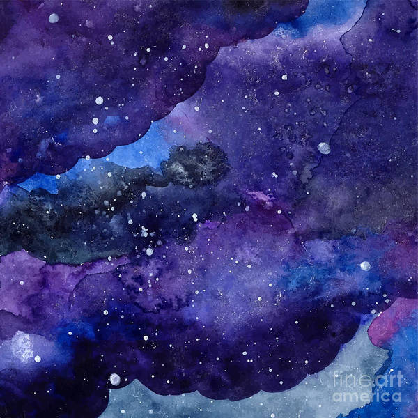 Mystery Digital Art - Watercolor Space Texture With Glowing by Anna Kutukova