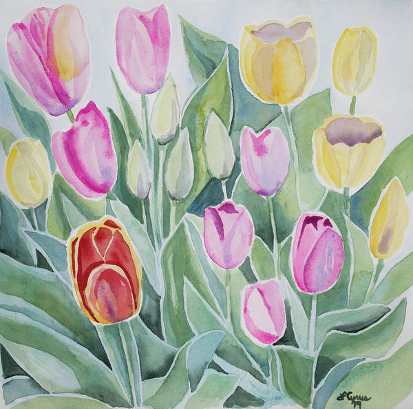Painting - Watercolor - Spring Tulips by Cascade Colors