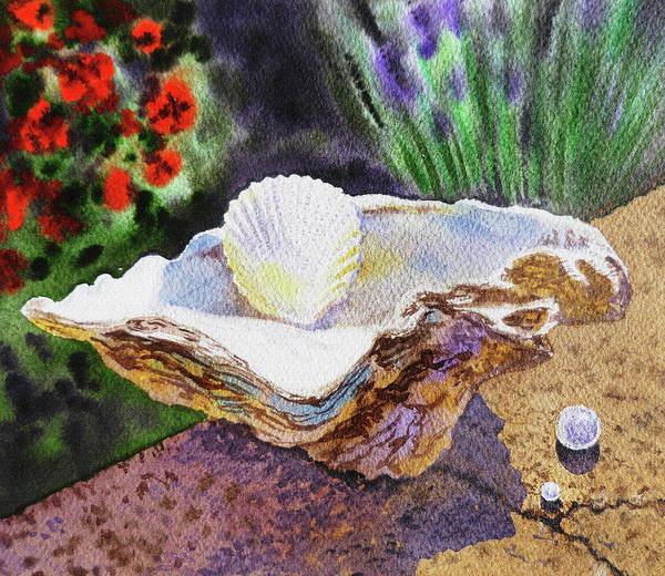 Wall Art - Painting - Watercolor Still Life With Shells And Pearls  by Irina Sztukowski