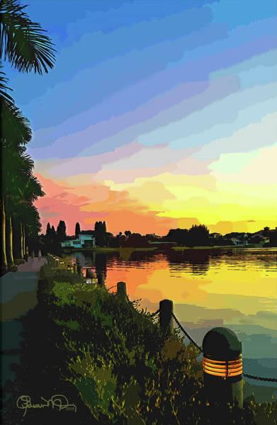 Photograph - Watercolor Sunset At Ringling 1 by Susan Molnar
