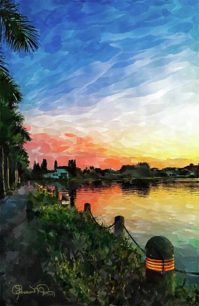 Photograph - Watercolor Sunset At Ringling 2 by Susan Molnar